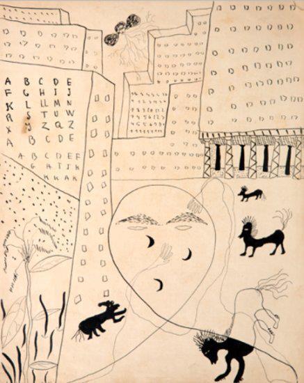 Autorretrato en Nueva York. El dibujo de F. García Lorca que apareció en la primera edición en habla hispana de Poeta en Nueva York.