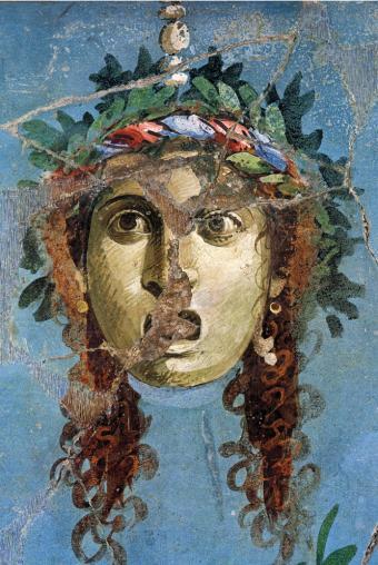 Máscara teatral pintada en un fresco de la Casa del Brazalete de Oro (primera mitad del siglo I), del libro El arte de Pompeya