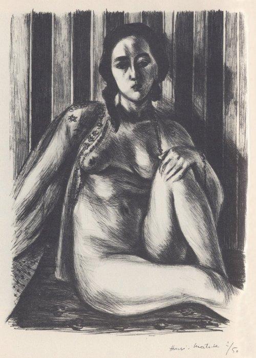 Desnudo sentado con camisa de tul (1925)