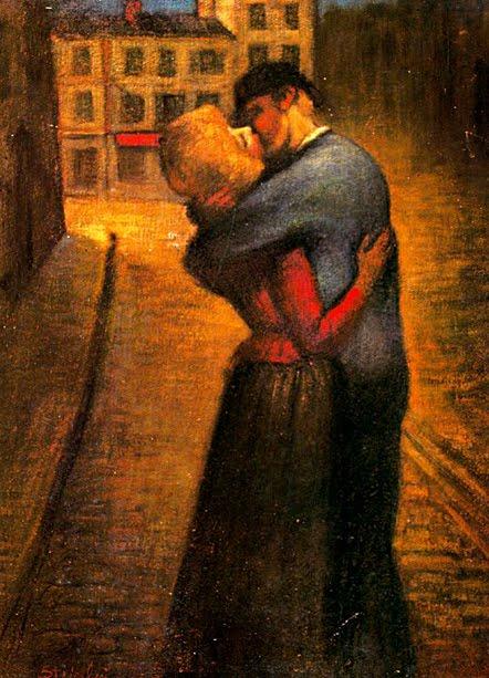 (Pintura de Théophile Alexander Steilen (1859-1923), El beso