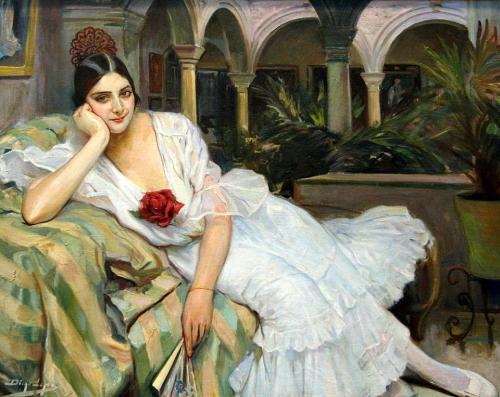 'Sevillana en su patio' Diego López, 1918. Museo de Bellas Artes de Sevilla.